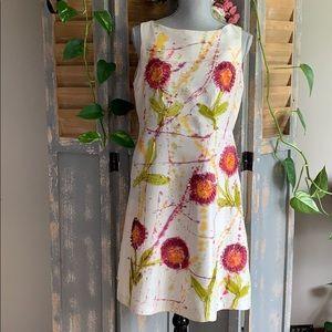 Tangerine Jill 💯% Silk Layered floral paint dress